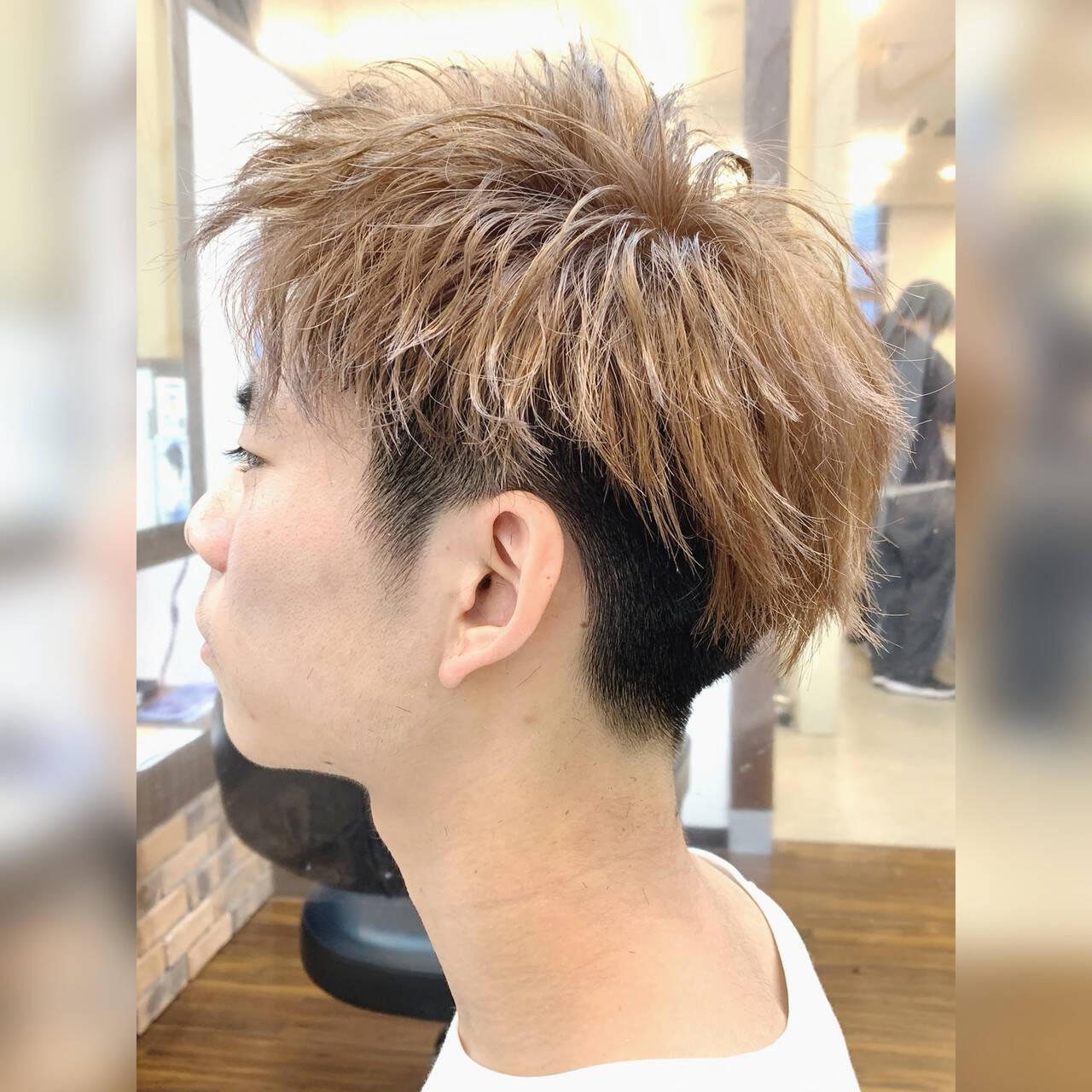メンズショート ダブルカラー モテ髪 ツーブロックヘアスタイルや髪型の写真・画像