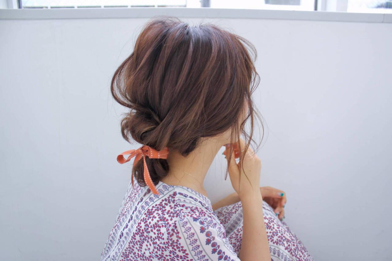 デート リボンアレンジ ヘアアレンジ お団子ヘアヘアスタイルや髪型の写真・画像