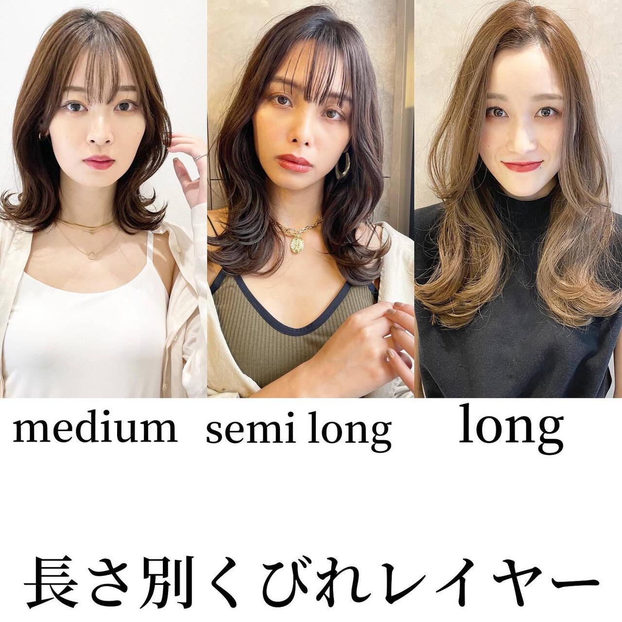 レイヤーカット ナチュラル セミロング 韓国ヘアヘアスタイルや髪型の写真・画像