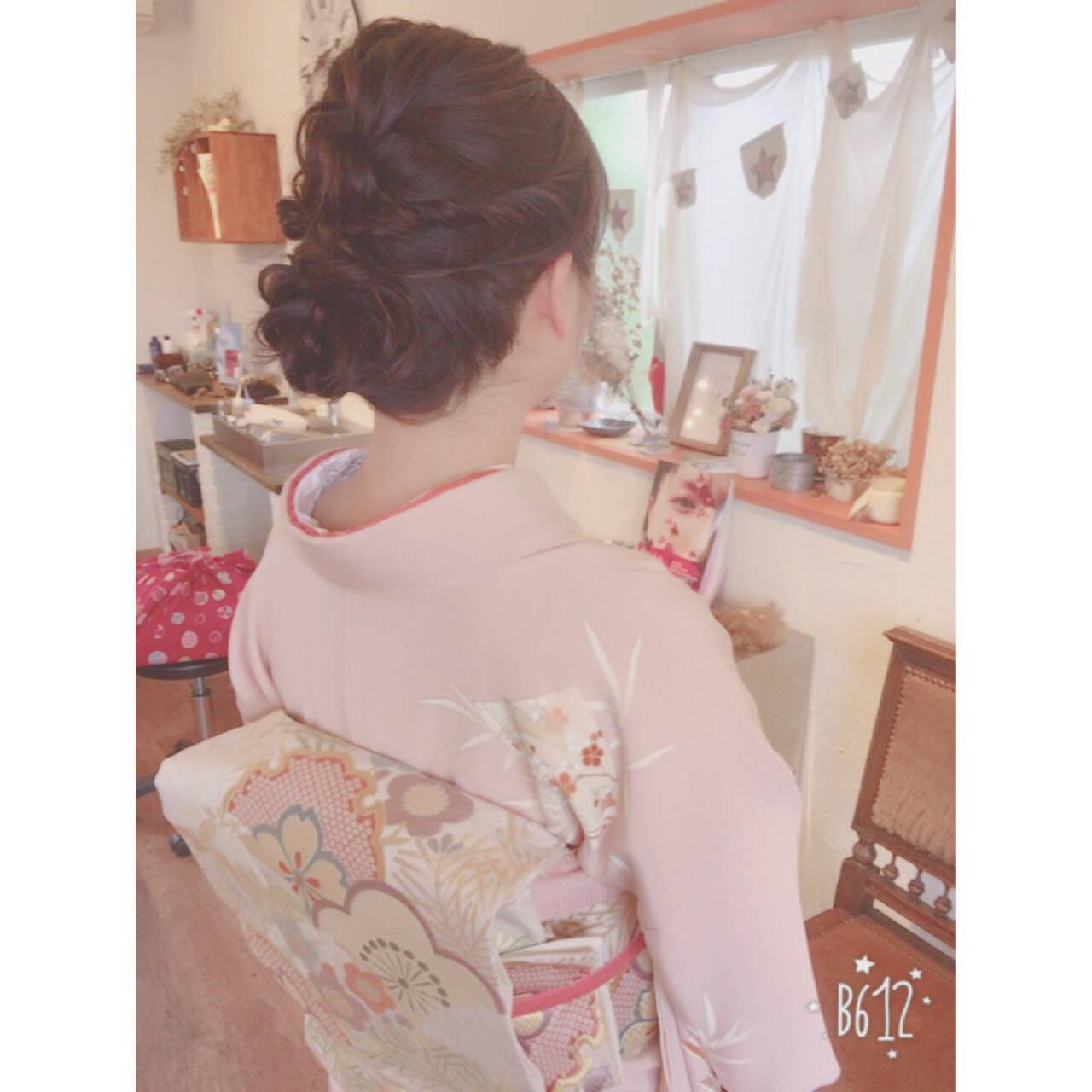 結婚式 ヘアアレンジ ミディアム レッドヘアスタイルや髪型の写真・画像