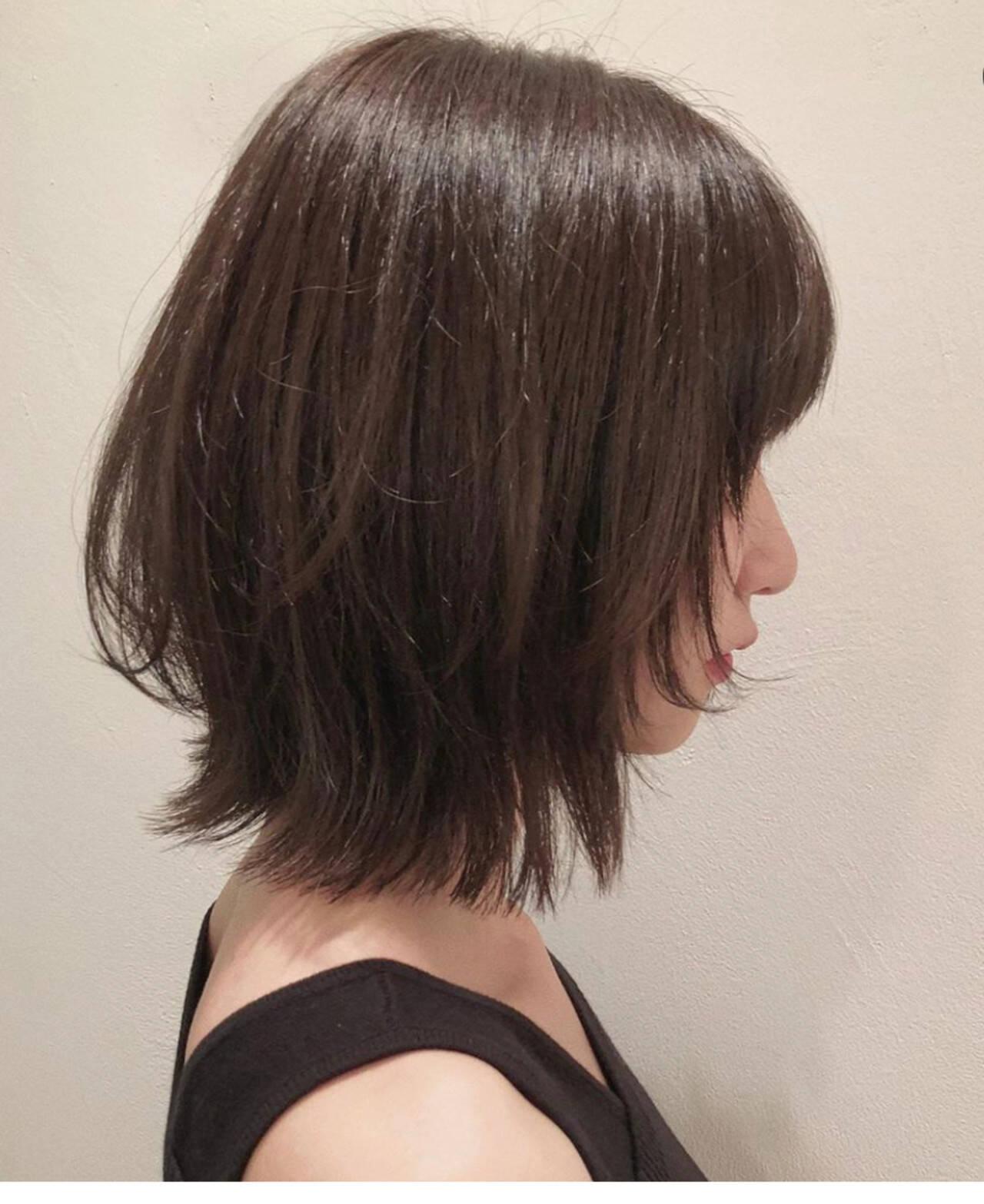 エレガント ダークアッシュ ウルフカット アッシュブラウンヘアスタイルや髪型の写真・画像