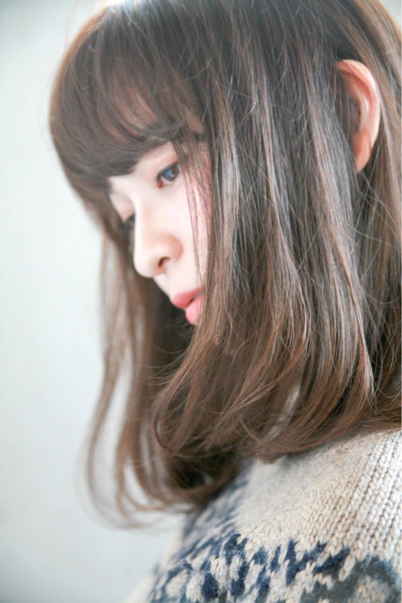 ミディアム 愛され アッシュ モテ髪ヘアスタイルや髪型の写真・画像