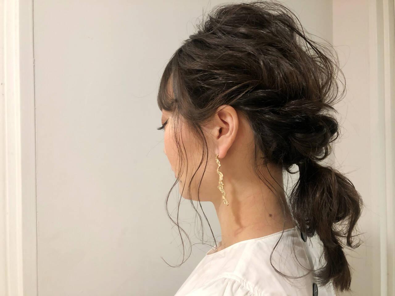 大人かわいい 簡単ヘアアレンジ ロング オフィスヘアスタイルや髪型の写真・画像