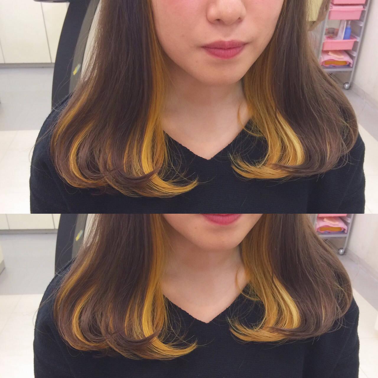ストリート セミロング インナーカラー ダブルカラーヘアスタイルや髪型の写真・画像