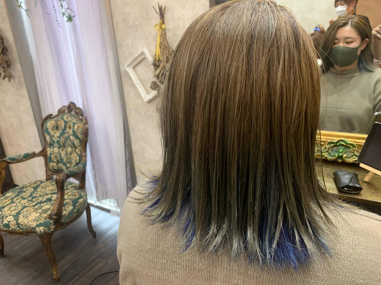 外ハネボブ アクセサリーカラー インナーカラー ストリートヘアスタイルや髪型の写真・画像