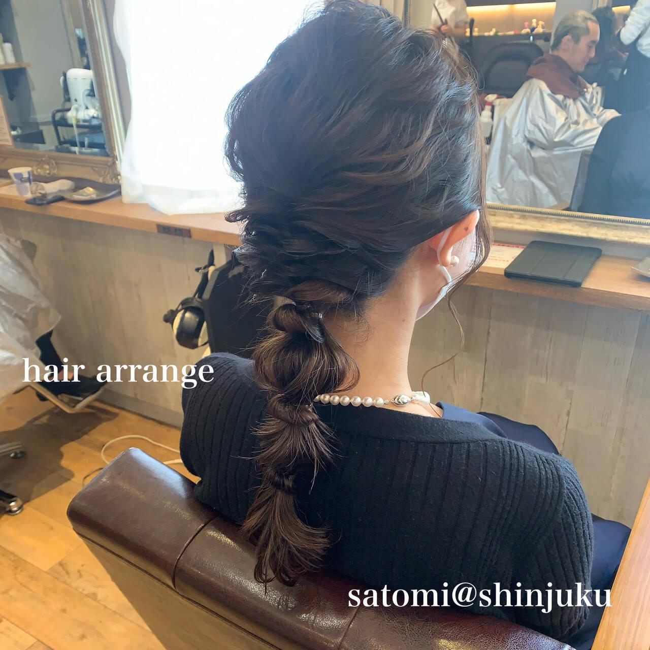 ヘアアレンジ ナチュラル 結婚式ヘアアレンジ セミロングヘアスタイルや髪型の写真・画像