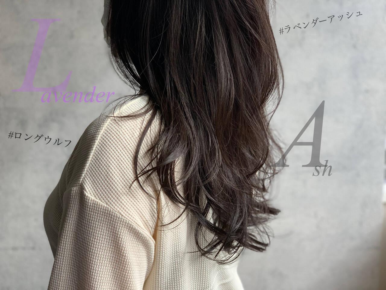 フェミニン ウルフカット ロング アッシュグレージュヘアスタイルや髪型の写真・画像