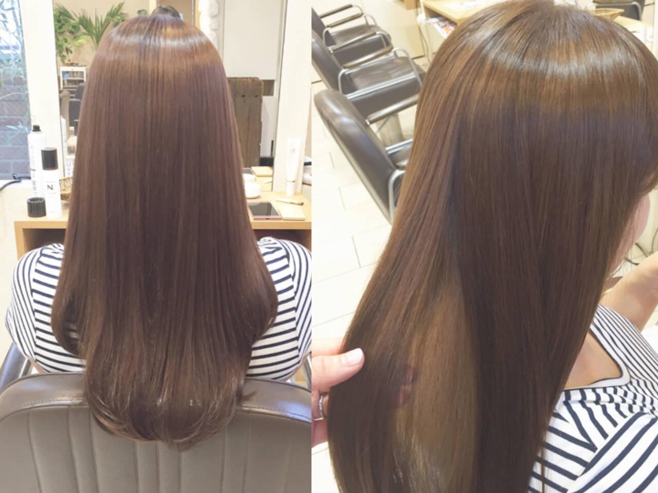 ロング リラックス 艶髪 オフィスヘアスタイルや髪型の写真・画像