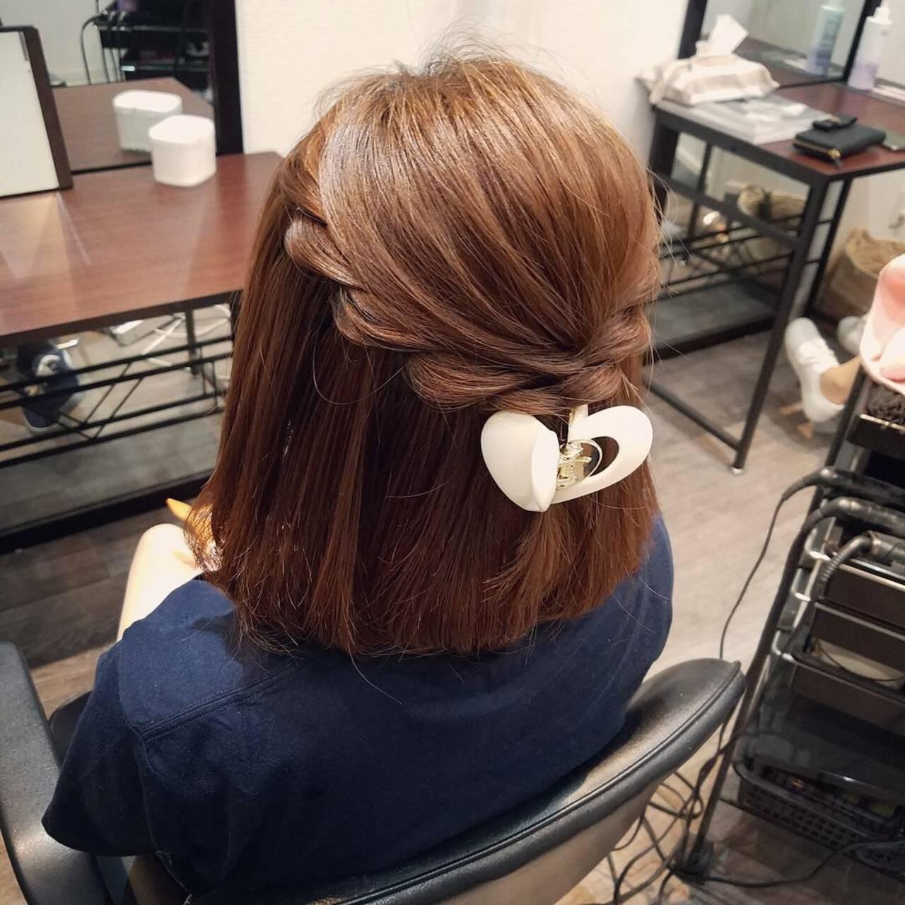 ナチュラル ヘアアレンジ ボブ ハーフアップヘアスタイルや髪型の写真・画像