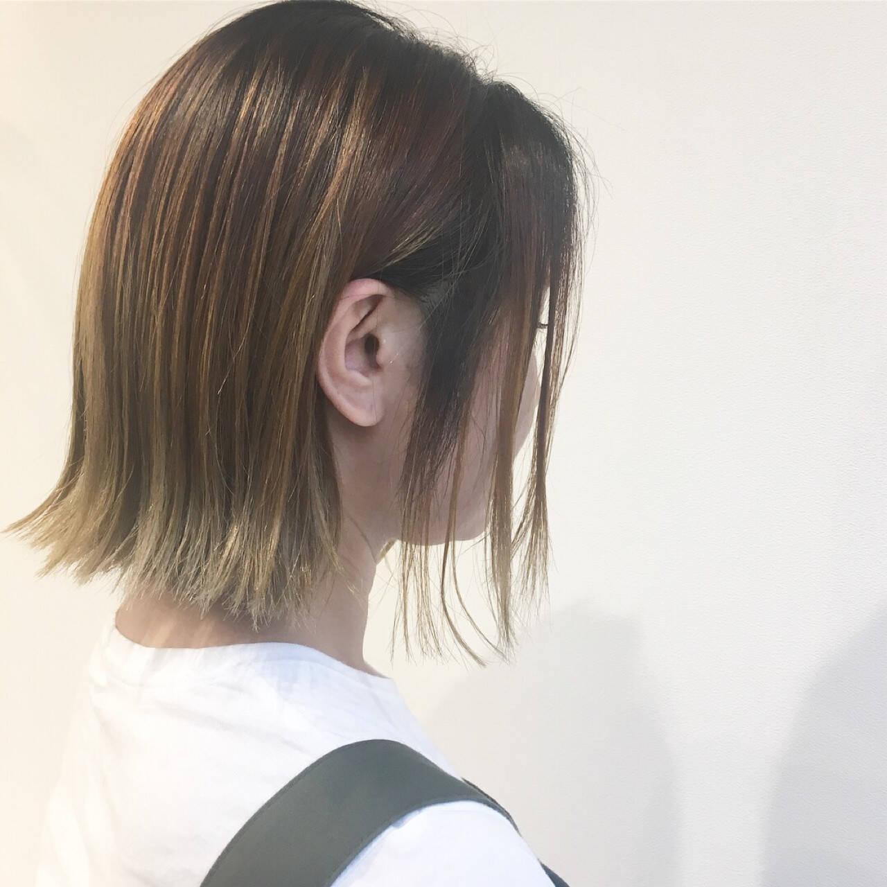 ボブ 外国人風 ストリート バレイヤージュヘアスタイルや髪型の写真・画像