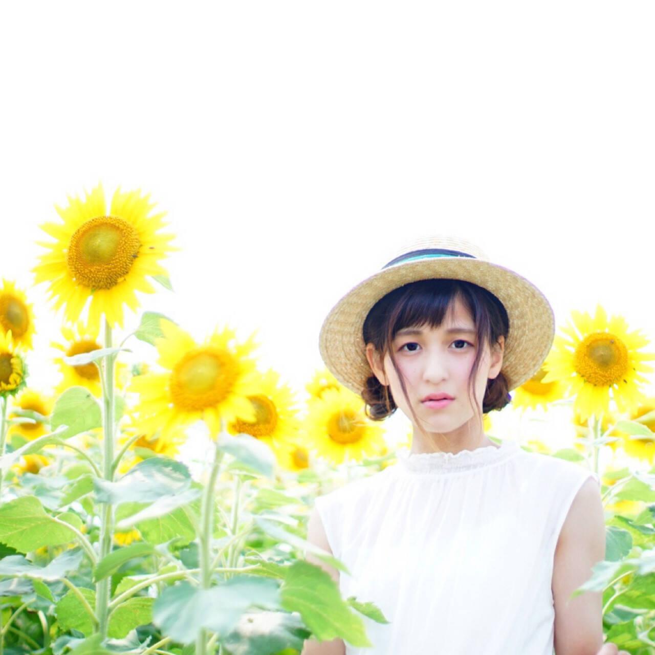 色気 ガーリー 夏 お団子ヘアスタイルや髪型の写真・画像