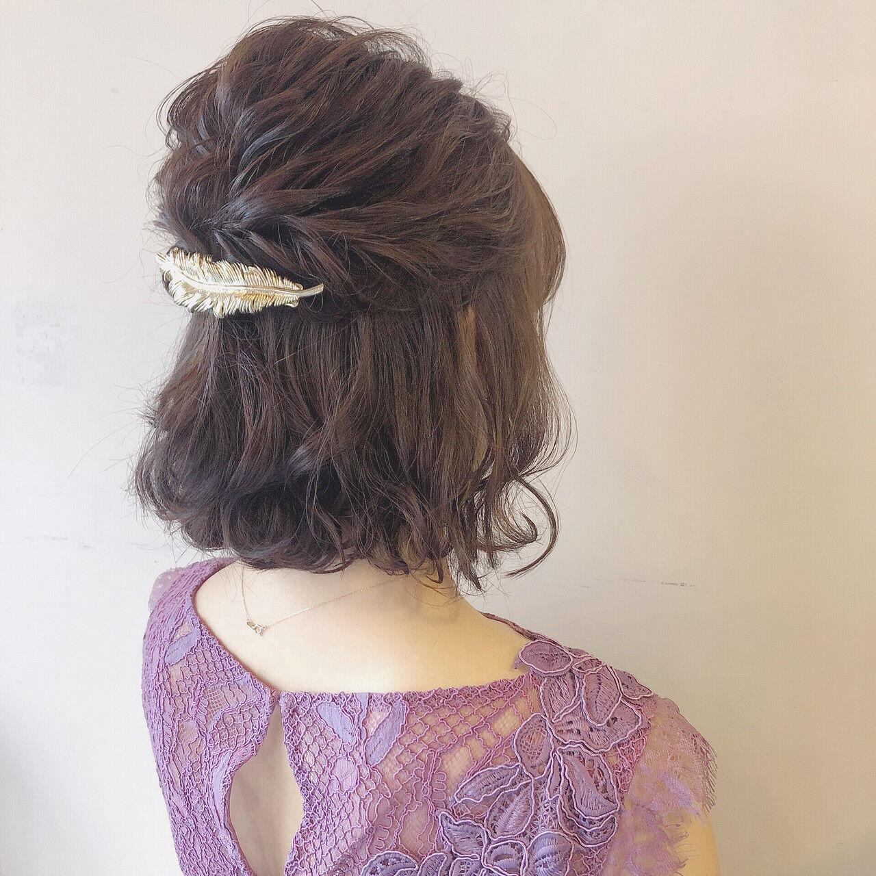 デート ボブ ヘアアレンジ 結婚式ヘアスタイルや髪型の写真・画像