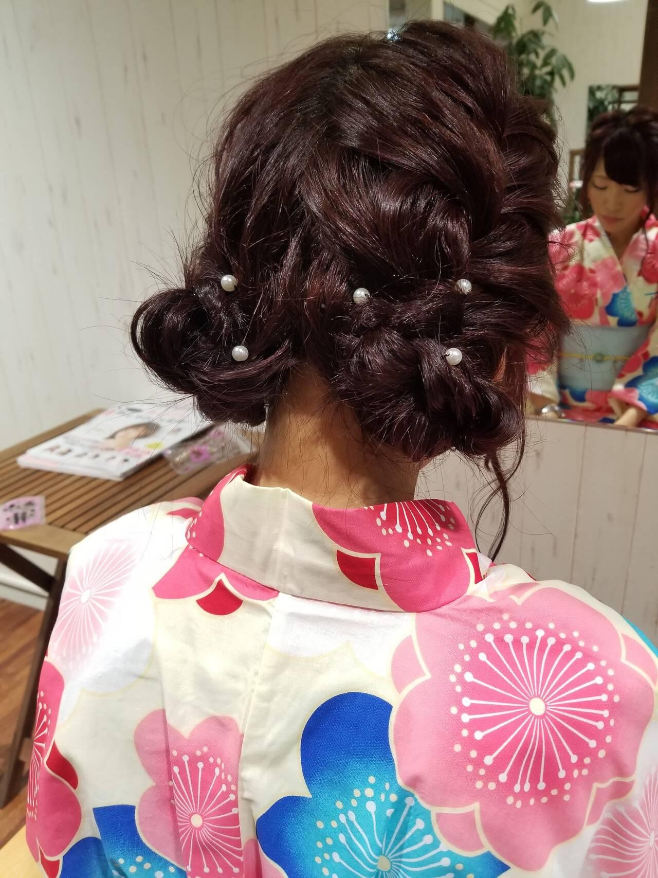 和装 フェミニン お祭り ヘアアレンジヘアスタイルや髪型の写真・画像