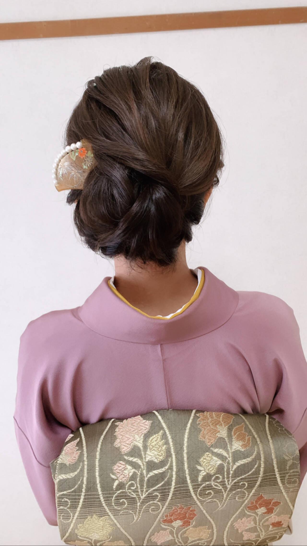 ミディアム エレガント 訪問着 和装ヘアヘアスタイルや髪型の写真・画像