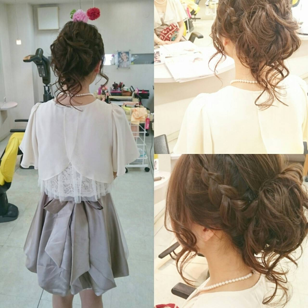 ブライダル 三つ編み ヘアアレンジ 結婚式ヘアスタイルや髪型の写真・画像