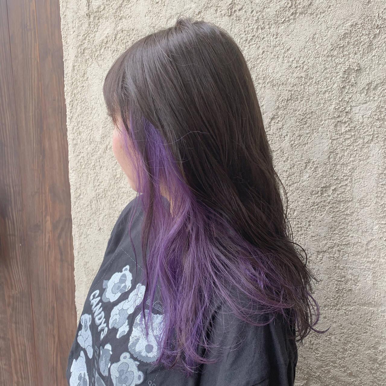 ブリーチ ハイトーンカラー パープルカラー ストリートヘアスタイルや髪型の写真・画像