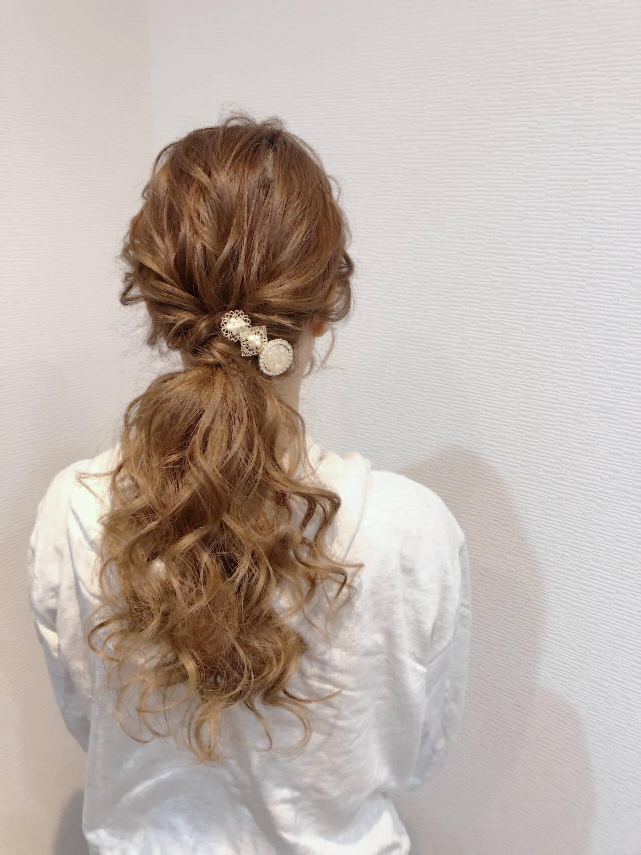 ポニーテール フェミニン ポニーテールアレンジ ヘアセットヘアスタイルや髪型の写真・画像