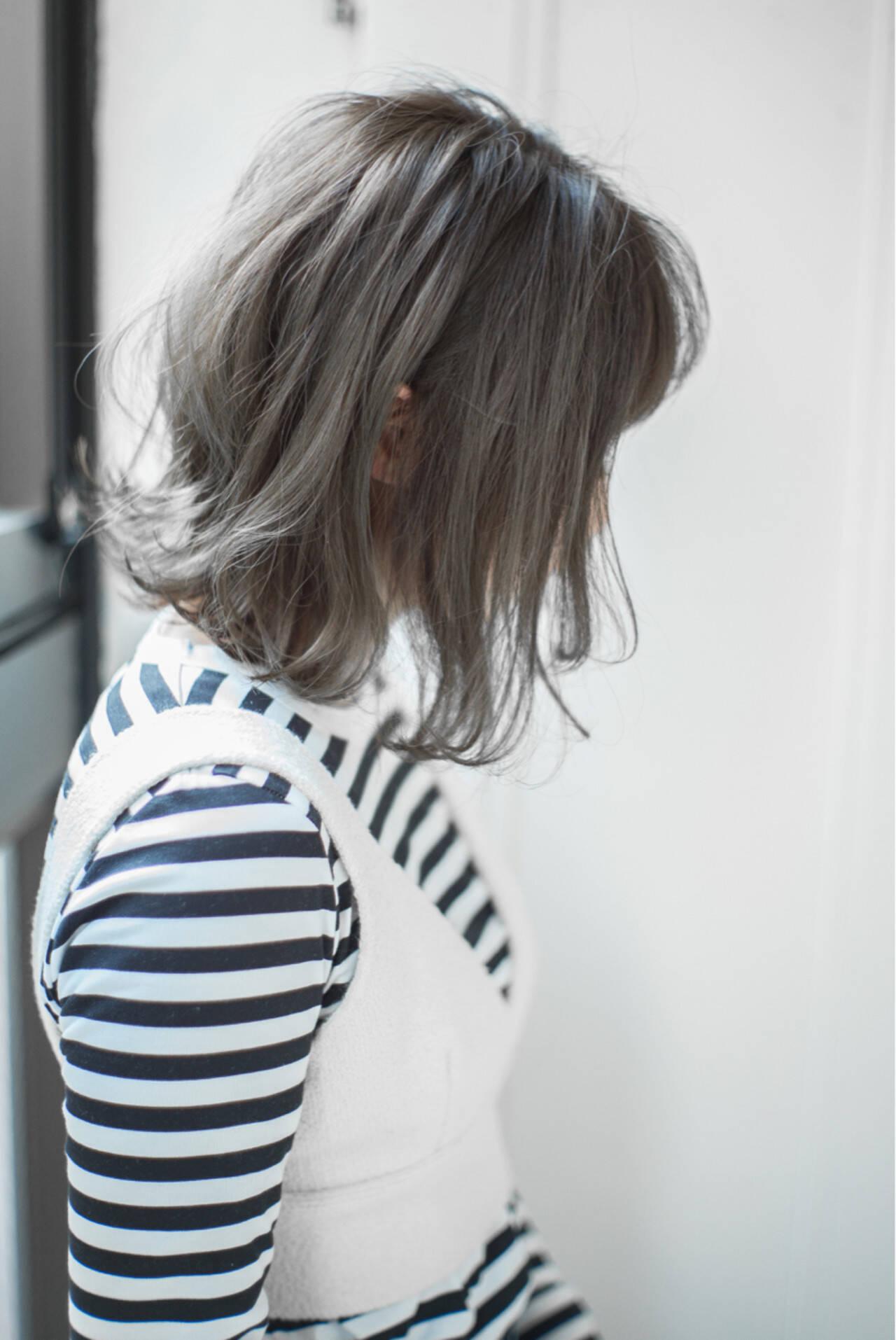 ボブ ニュアンス 黒髪 ナチュラルヘアスタイルや髪型の写真・画像