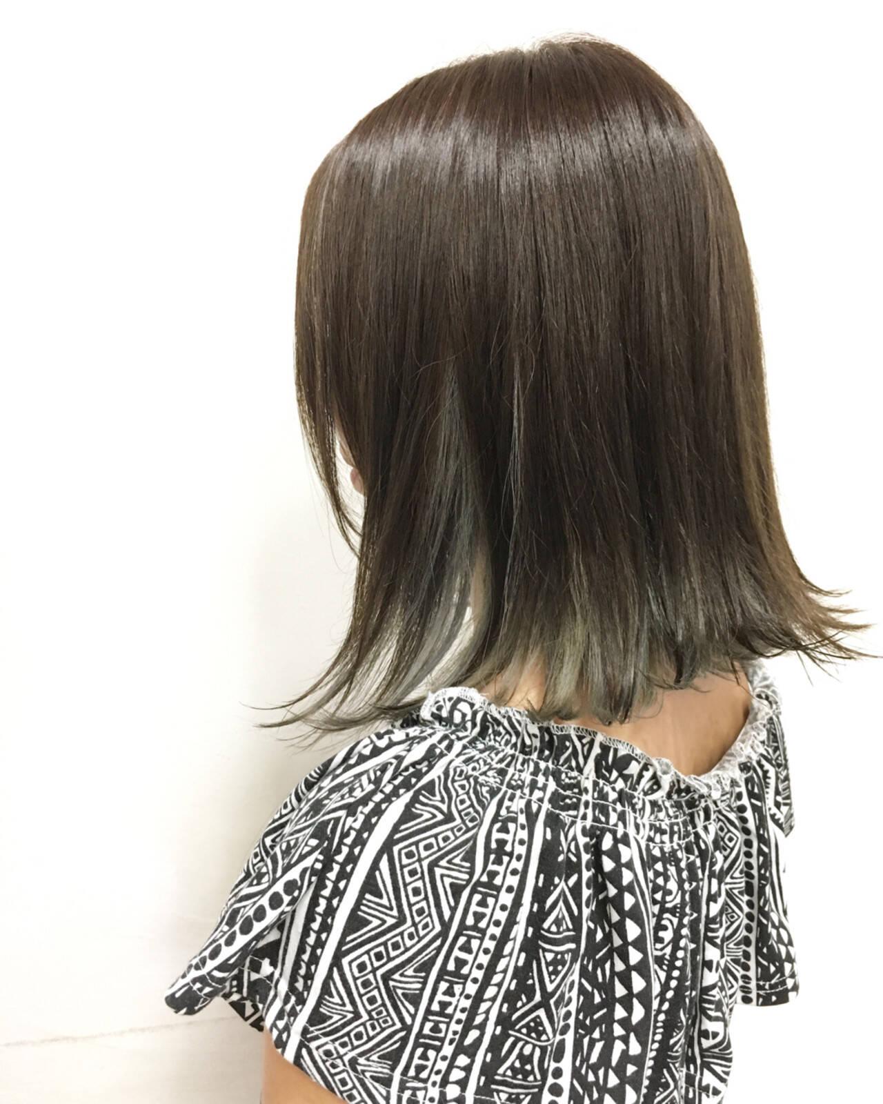 ボブ アッシュ ストリート インナーカラーヘアスタイルや髪型の写真・画像
