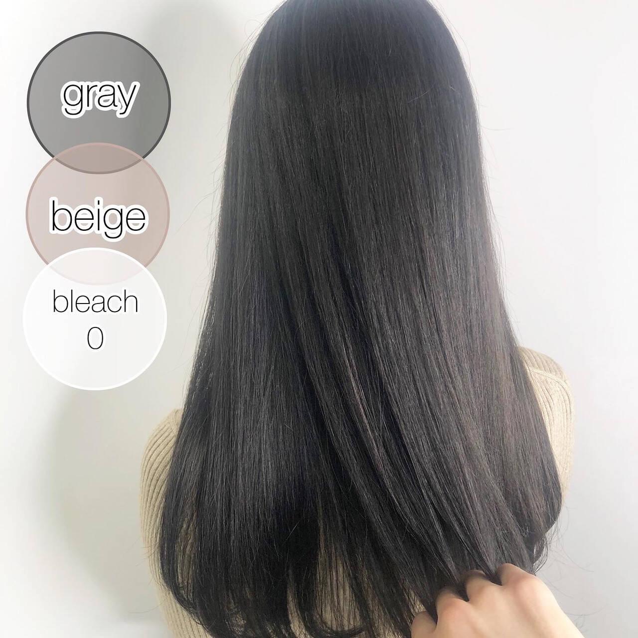 シルバーグレージュ ダークカラー ナチュラル 暗髪ヘアスタイルや髪型の写真・画像