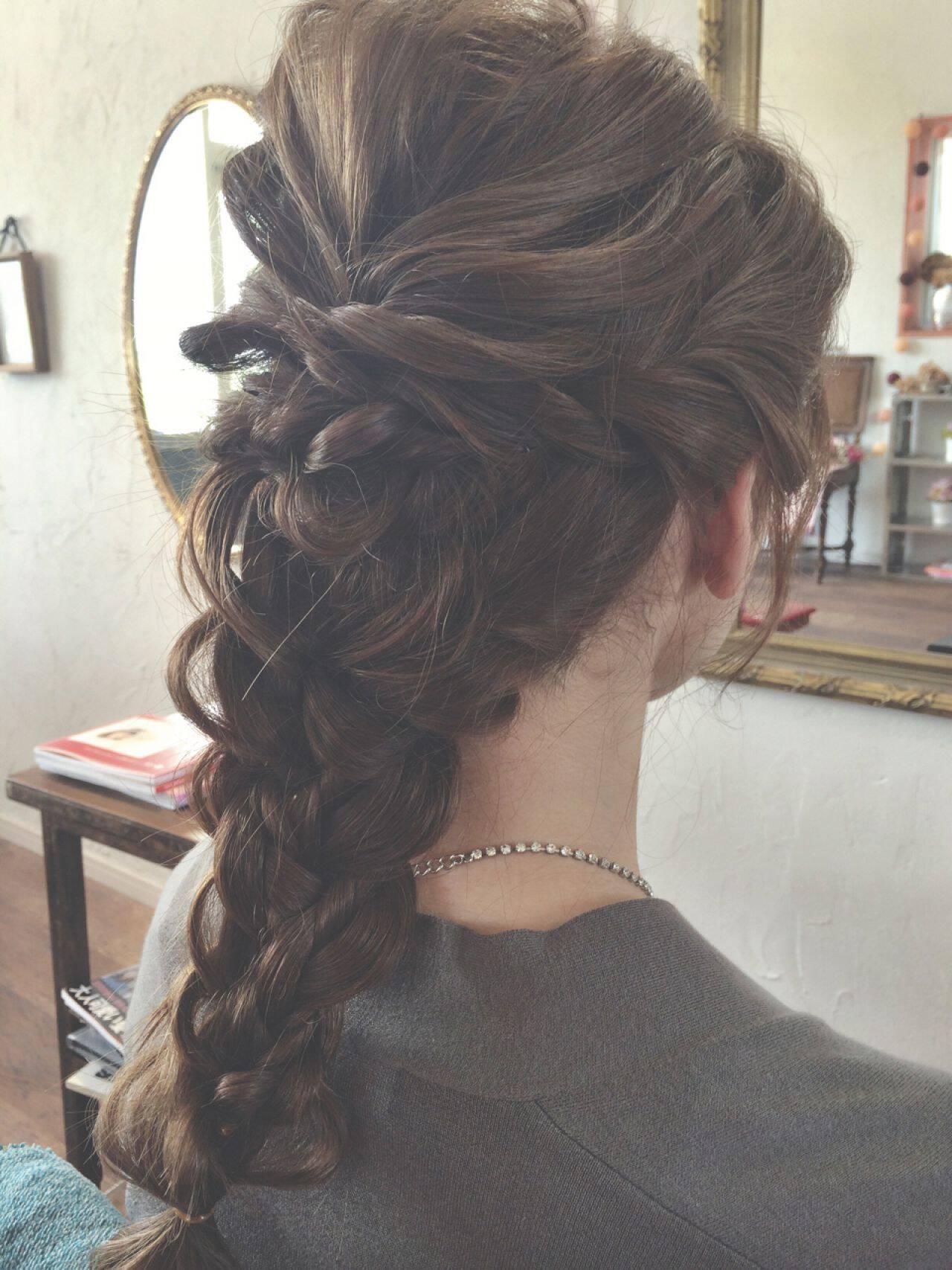 ロング ショート 結婚式 くるりんぱヘアスタイルや髪型の写真・画像