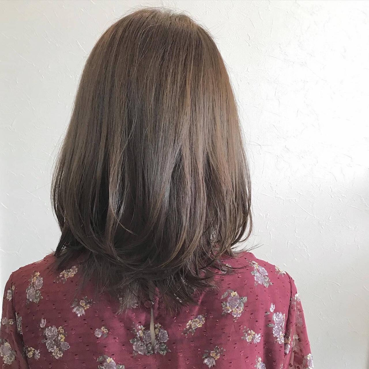 セミディ ミディアム 鎖骨ミディアム 大人ヘアスタイルヘアスタイルや髪型の写真・画像