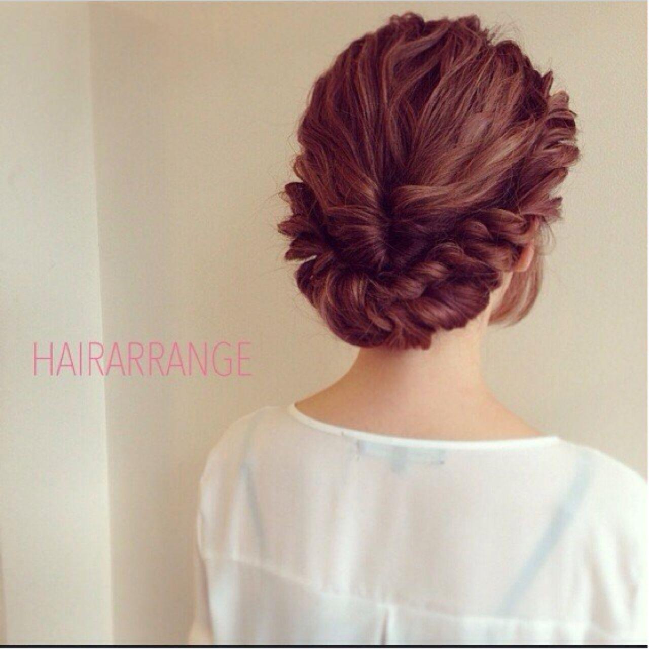 セミロング ナチュラル 簡単ヘアアレンジ ヘアアレンジヘアスタイルや髪型の写真・画像