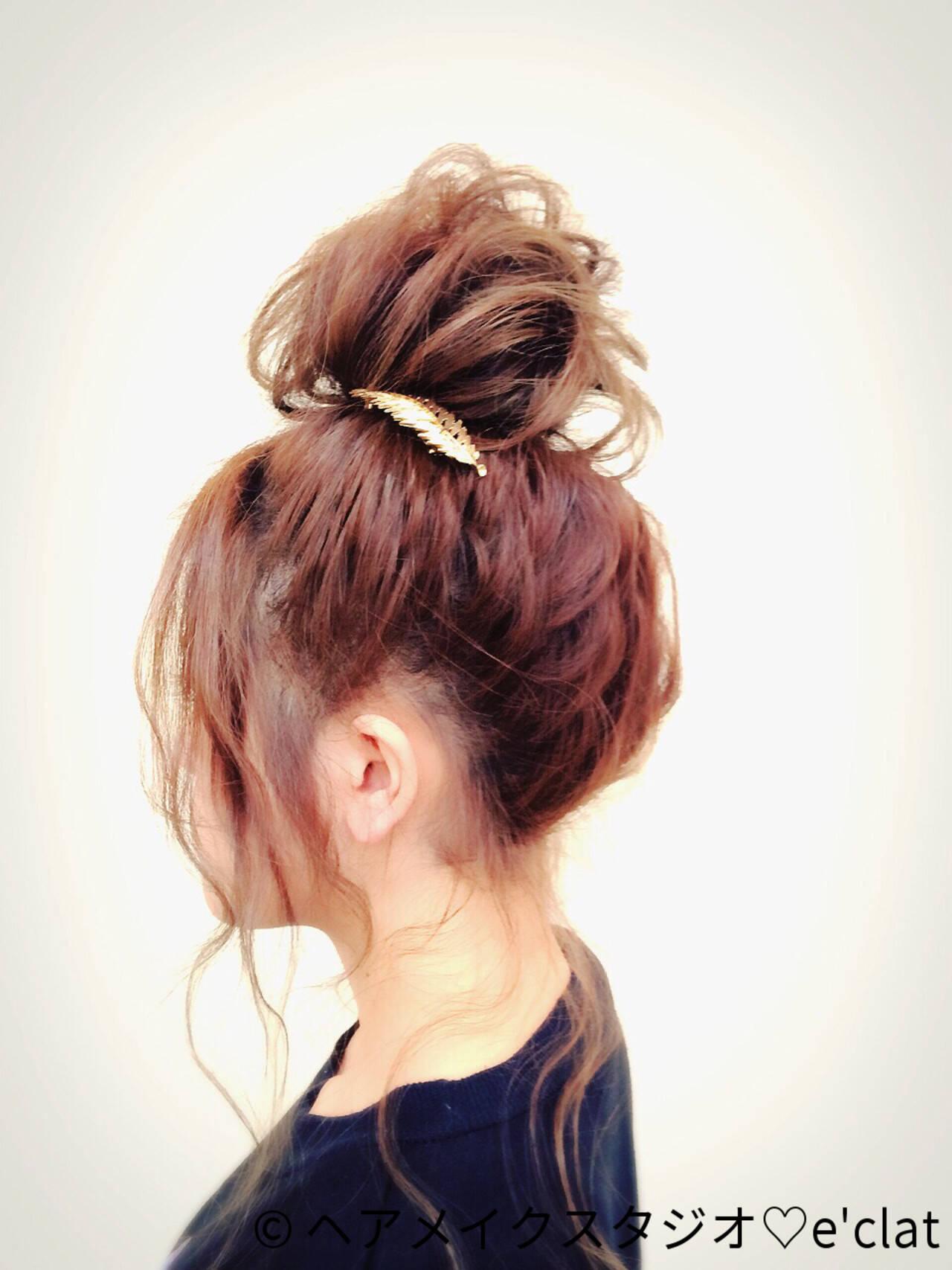 ゆるふわ セミロング ヘアアレンジ お団子ヘアスタイルや髪型の写真・画像