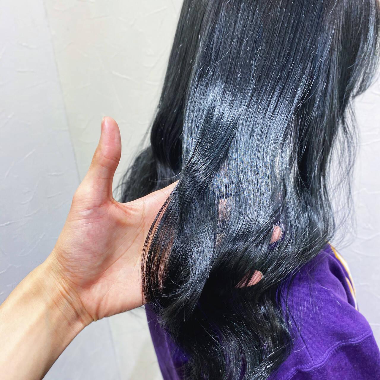 フェミニン ブルーバイオレット 艶髪 ブルージュヘアスタイルや髪型の写真・画像