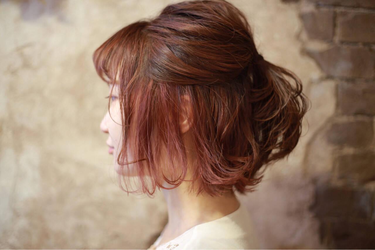 ベージュ グラデーションカラー ボブ モードヘアスタイルや髪型の写真・画像