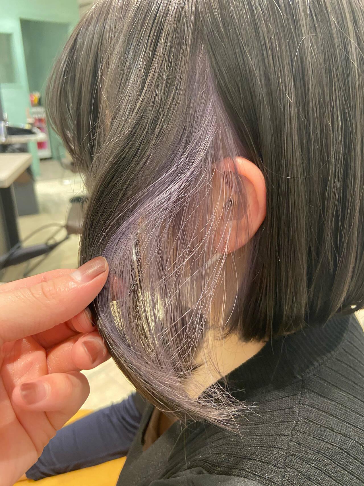 インナーカラーパープル パープルカラー パープル ボブヘアスタイルや髪型の写真・画像