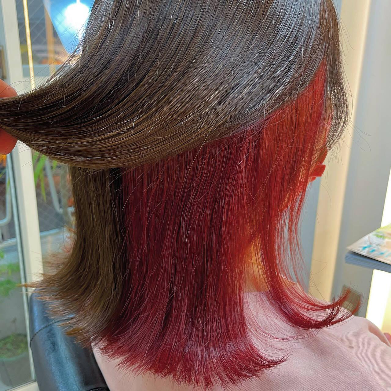 インナーカラー ダブルカラー ミディアム ブリーチヘアスタイルや髪型の写真・画像