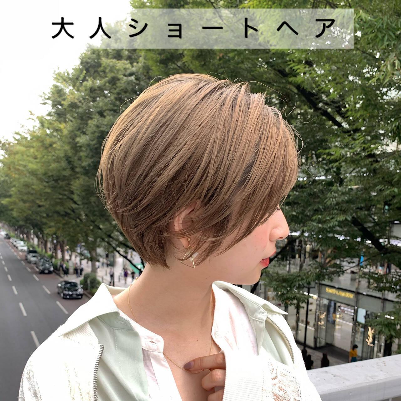 ナチュラル 大人女子 大人ショート ショートヘアスタイルや髪型の写真・画像