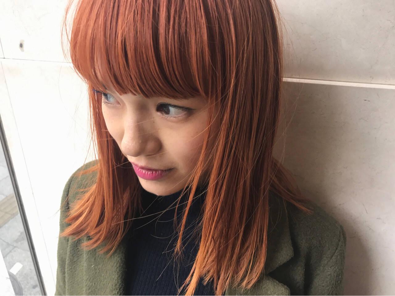 前髪あり ストリート ダブルカラー オレンジベージュヘアスタイルや髪型の写真・画像