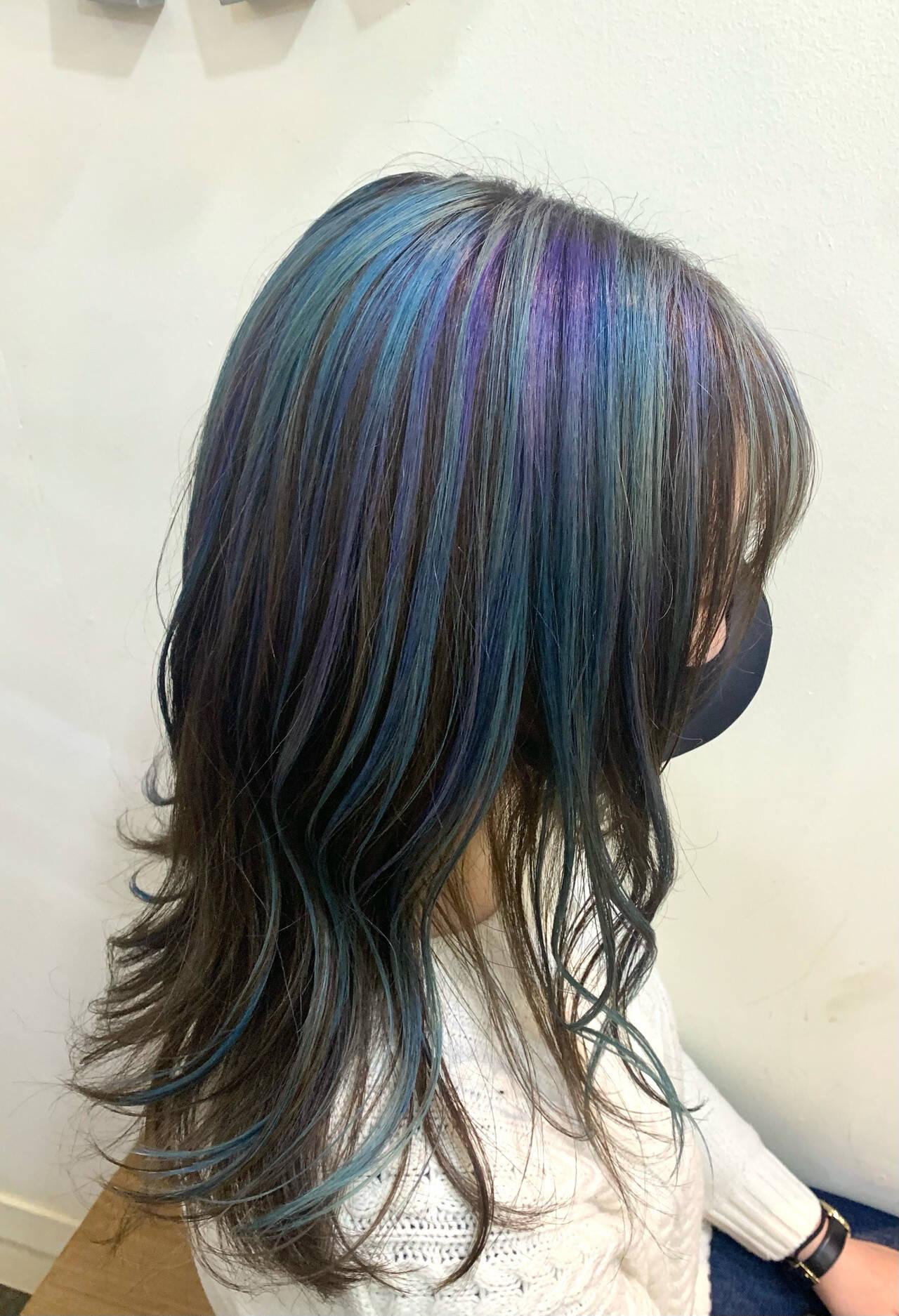 ユニコーン ユニコーンカラー セミロング ウェーブヘアヘアスタイルや髪型の写真・画像