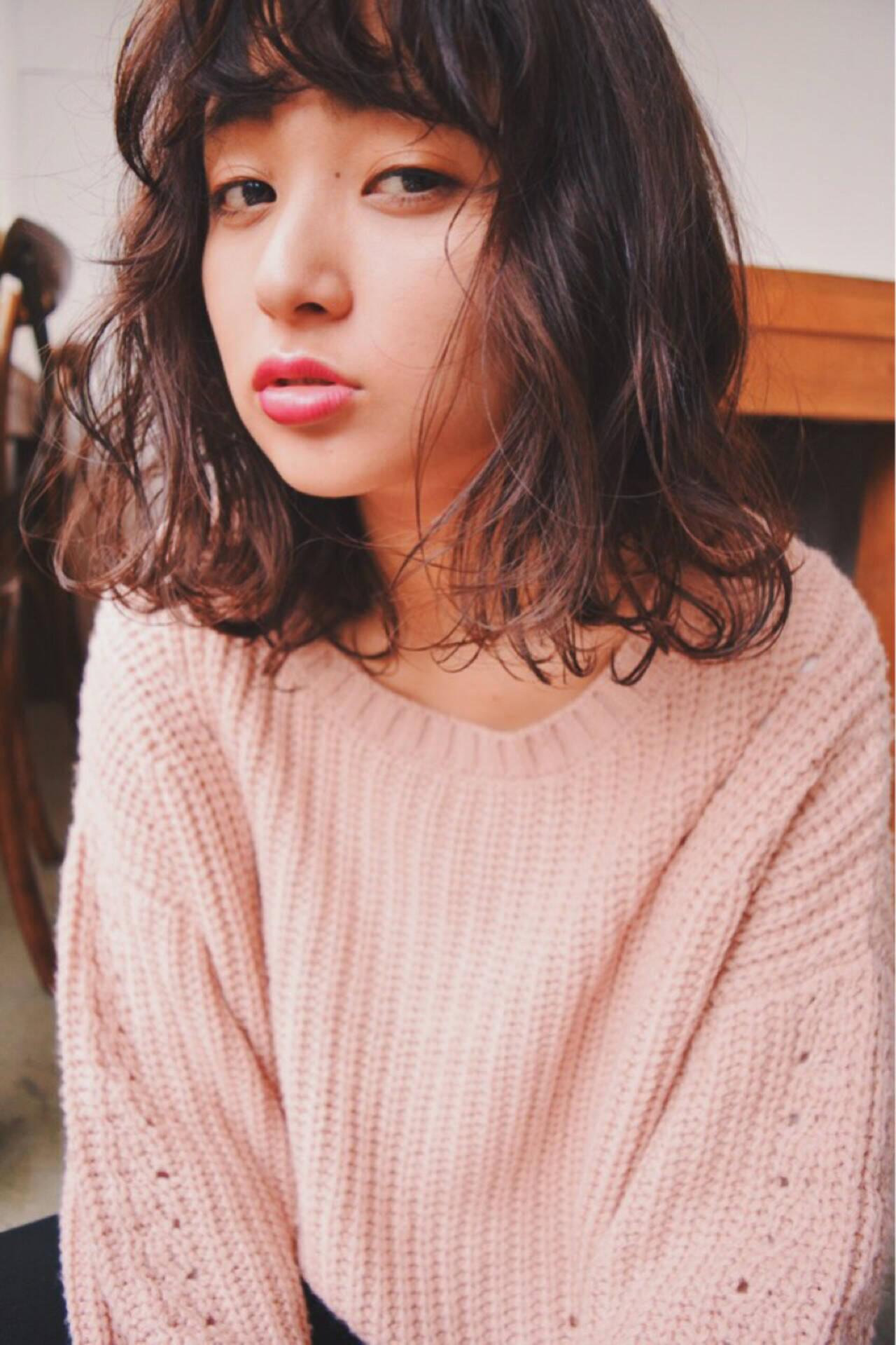 外ハネ シースルーバング ガーリー 大人かわいいヘアスタイルや髪型の写真・画像