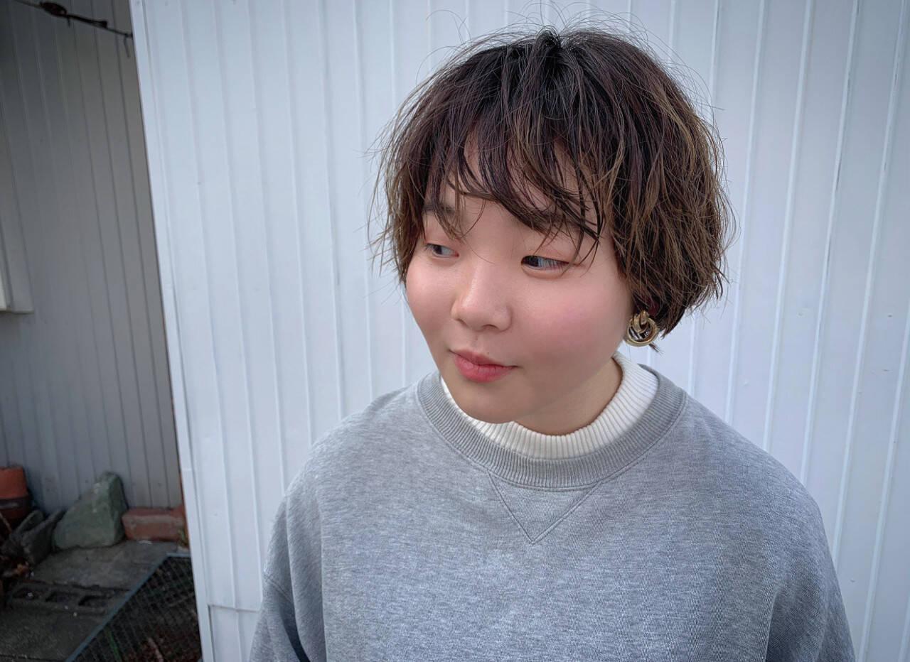 ショートボブ ガーリー 3Dハイライト ベリーショートヘアスタイルや髪型の写真・画像