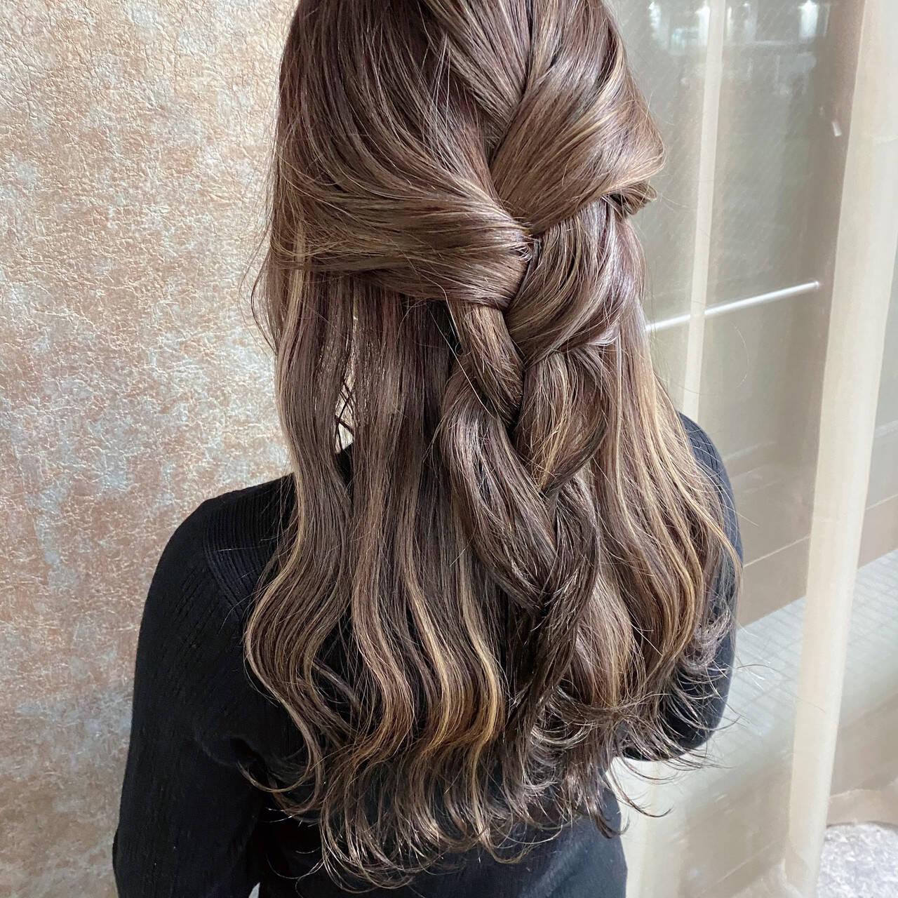 極細ハイライト コントラストハイライト ハイライト ロングヘアスタイルや髪型の写真・画像