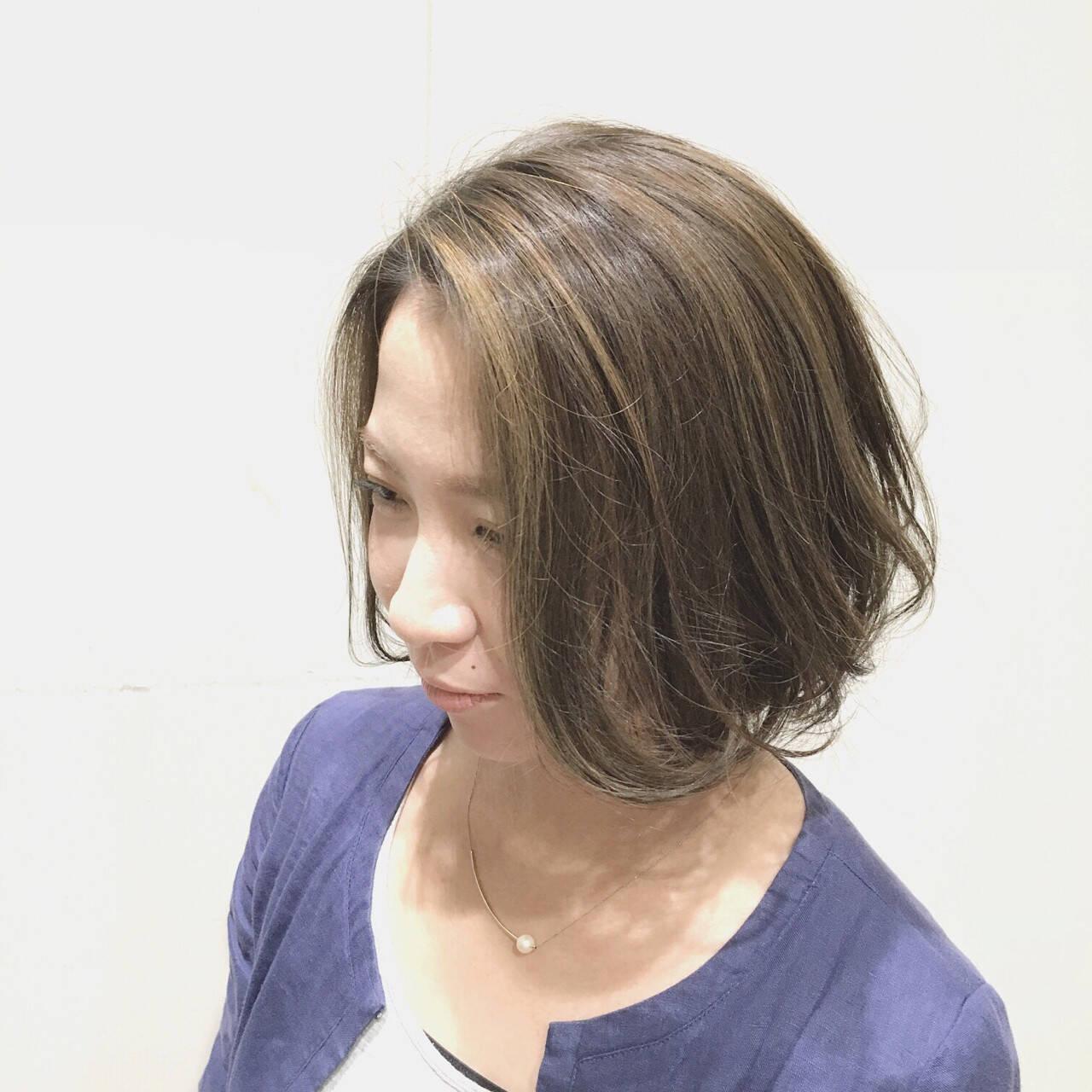 ボブ 外国人風カラー 外国人風 グレージュヘアスタイルや髪型の写真・画像