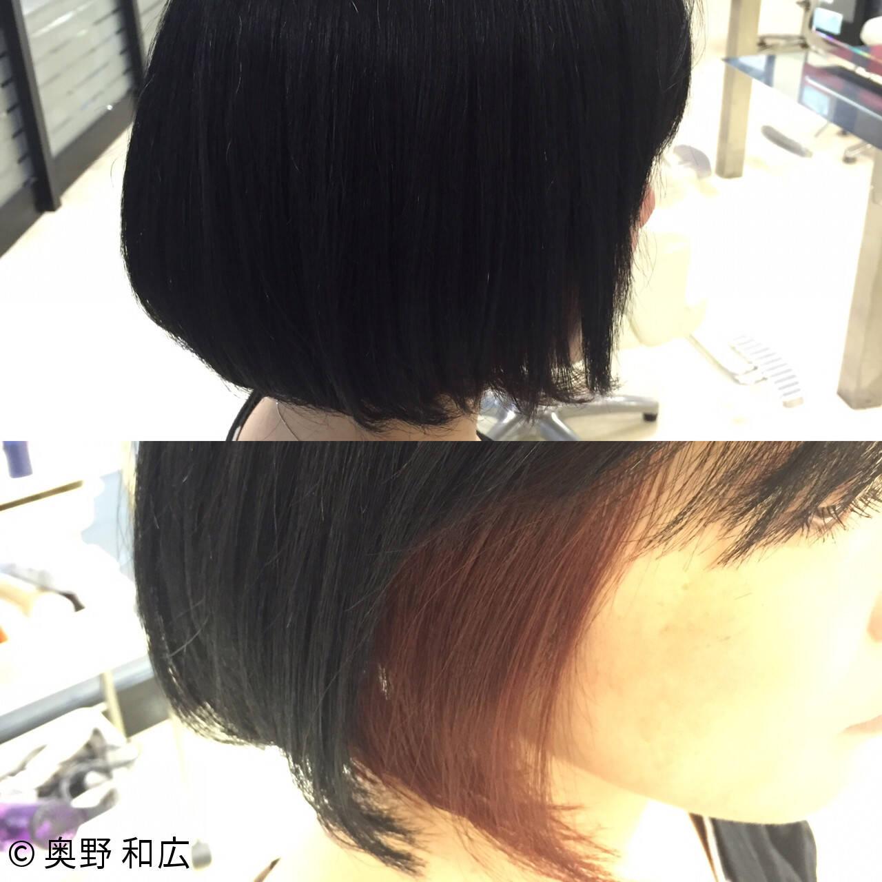 黒髪 モード ボブ インナーカラーヘアスタイルや髪型の写真・画像