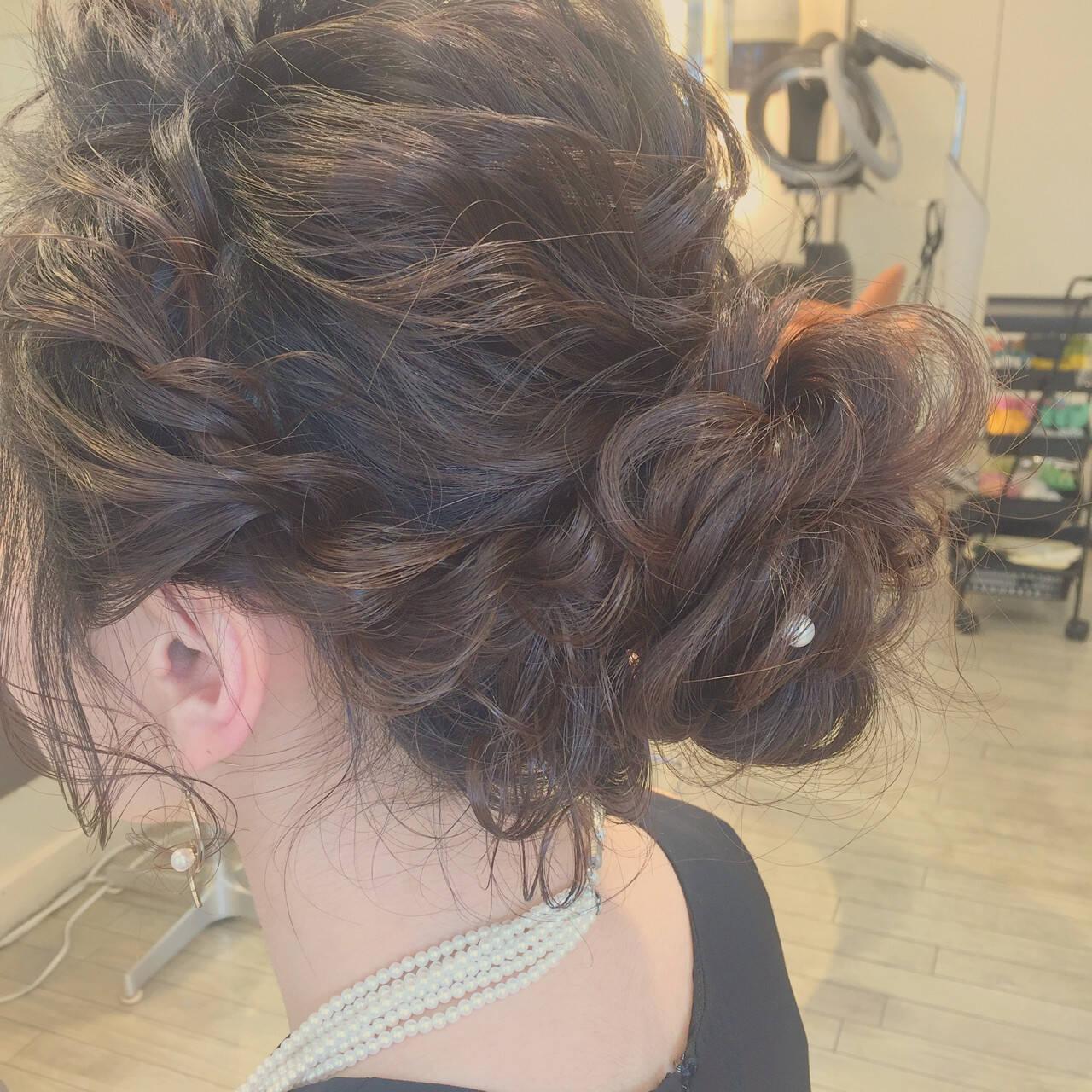 編み込み 結婚式 ゆるふわ セミロングヘアスタイルや髪型の写真・画像