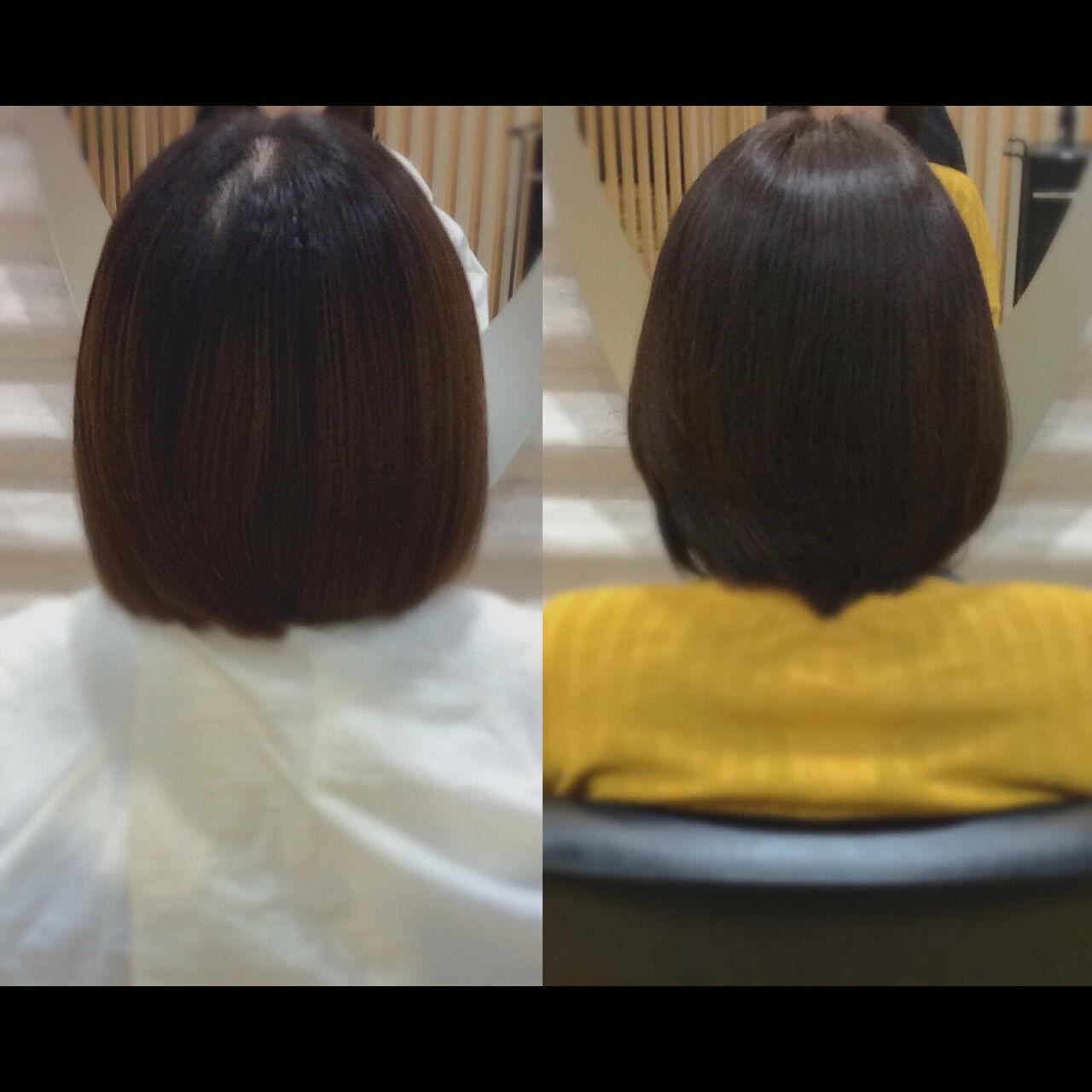 髪質改善カラー ショートボブ 髪質改善トリートメント 髪質改善ヘアスタイルや髪型の写真・画像