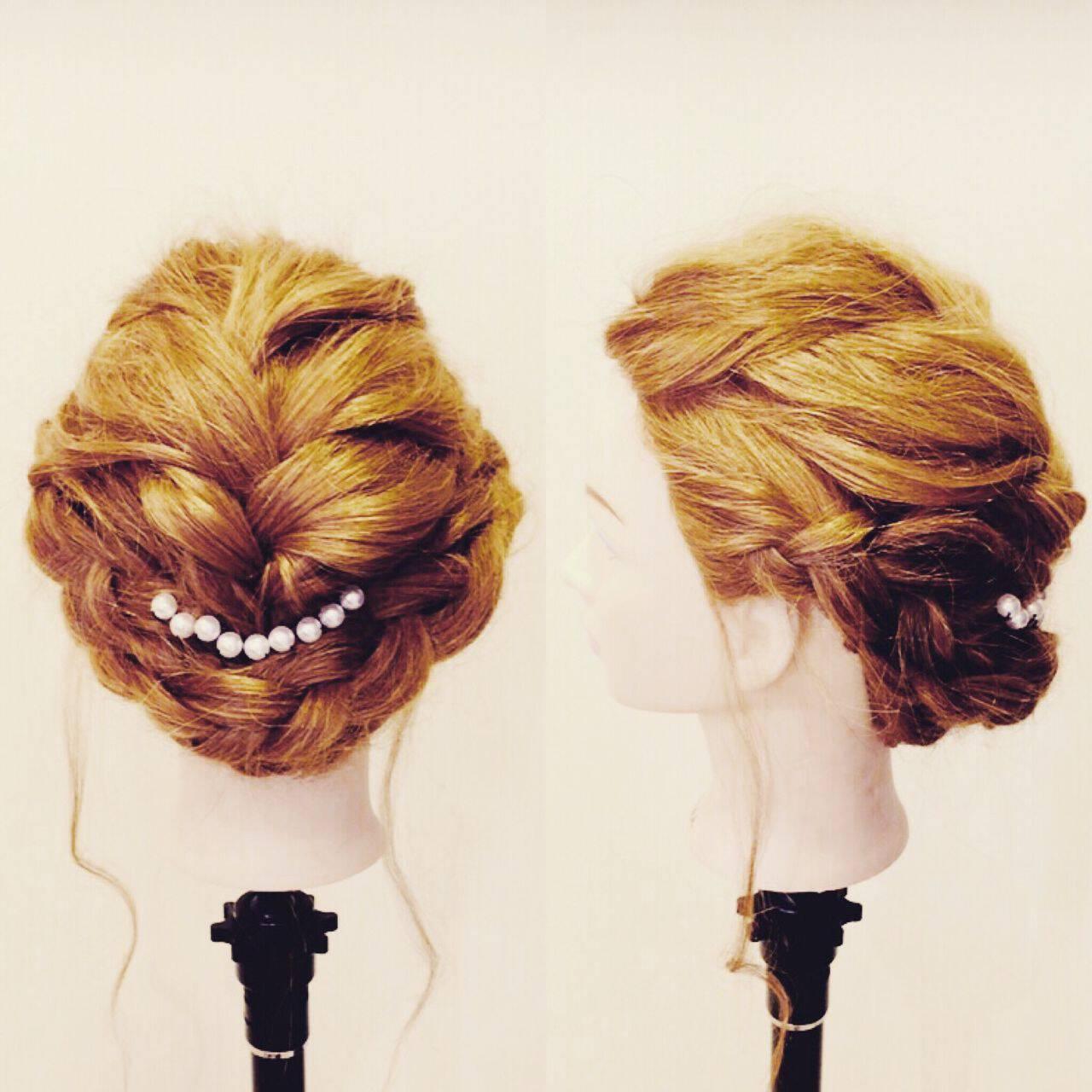 結婚式 和装 編み込み ガーリーヘアスタイルや髪型の写真・画像