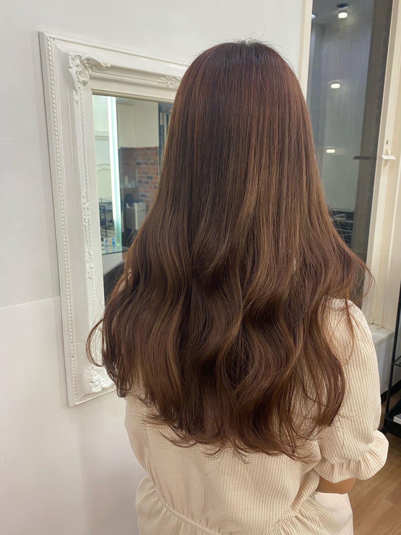 ショコラブラウン ガーリー ブラウンベージュ ベージュヘアスタイルや髪型の写真・画像