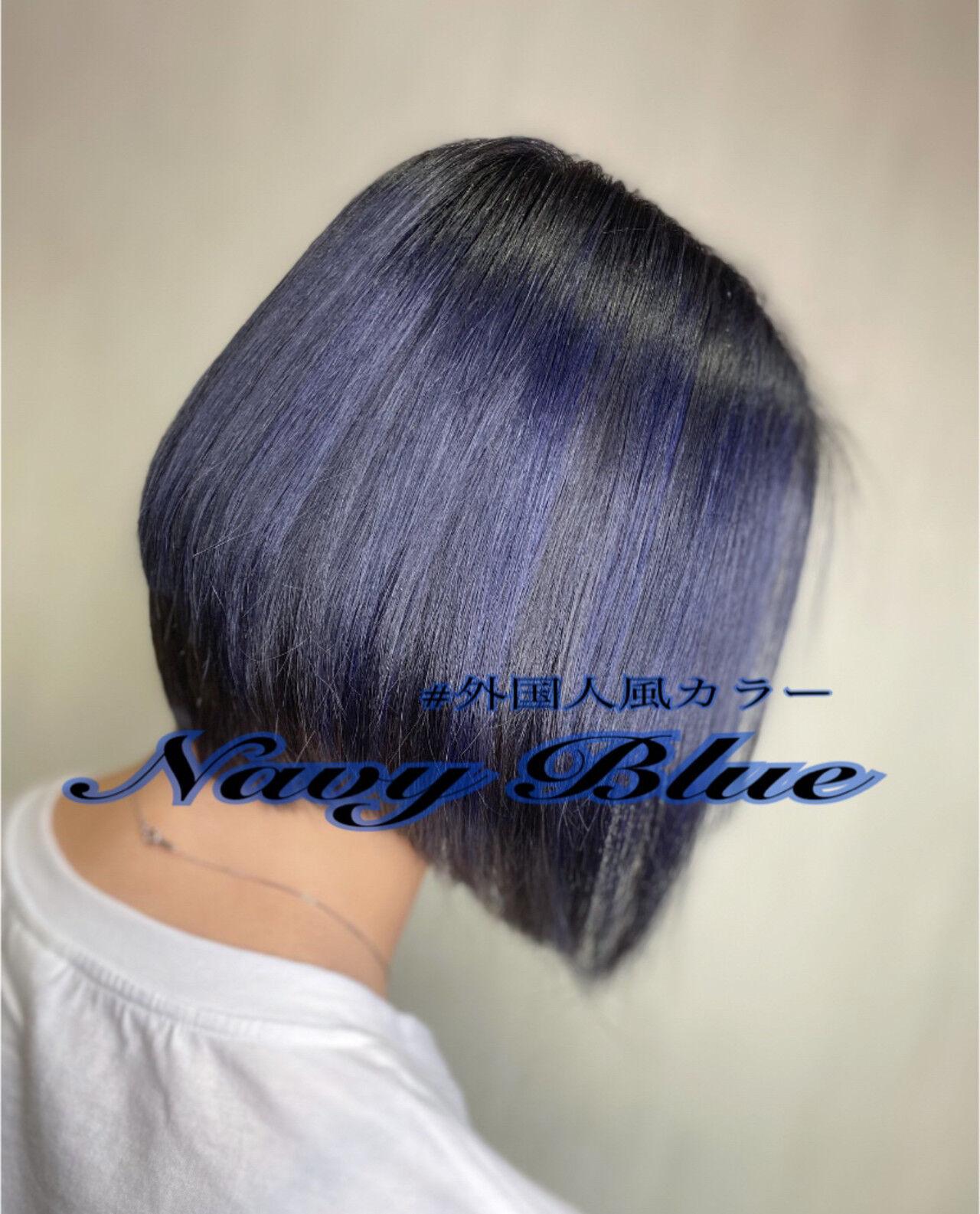 ボブ ナチュラル グラデーション ハイライトヘアスタイルや髪型の写真・画像