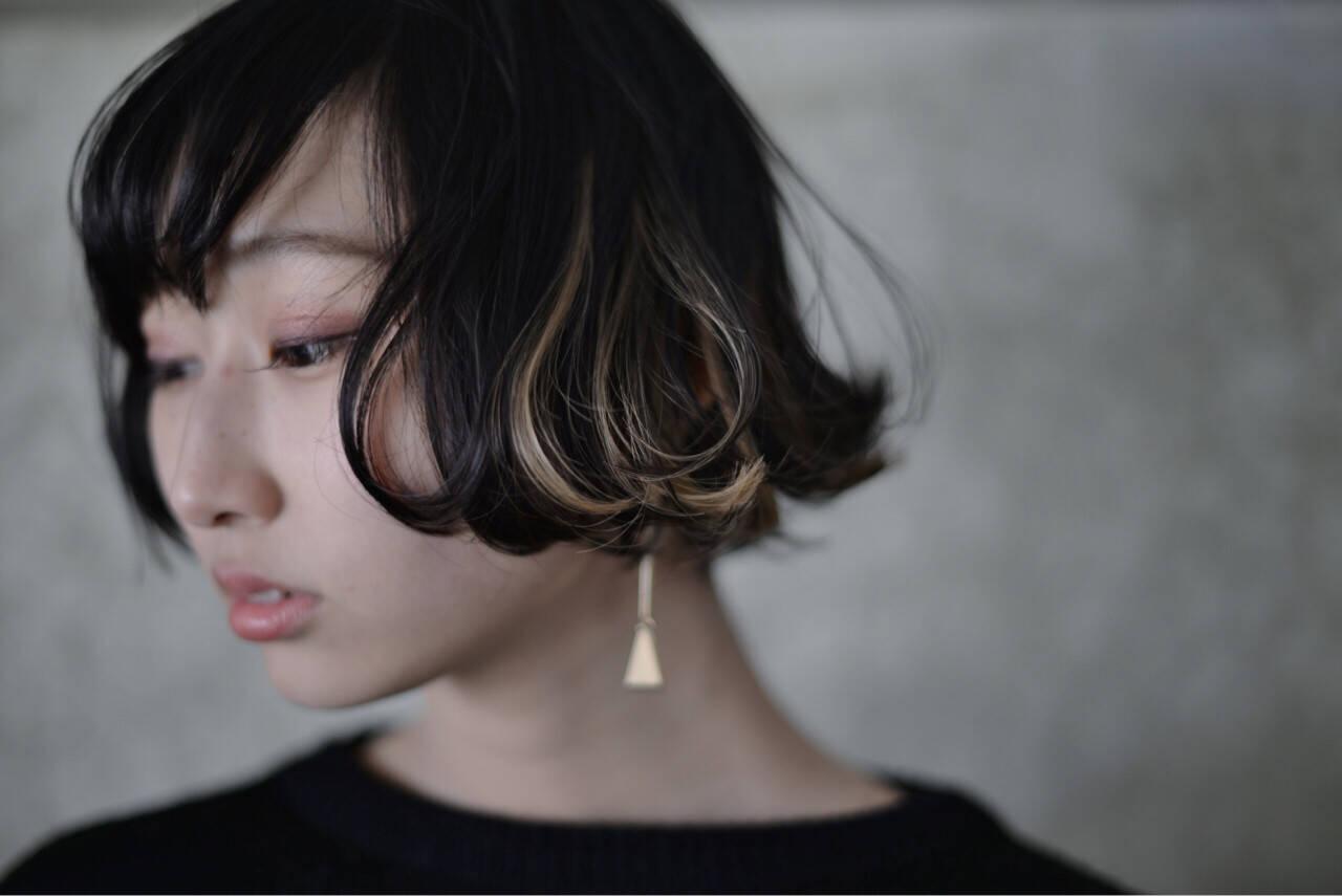 ストリート 黒髪 外ハネ ボブヘアスタイルや髪型の写真・画像