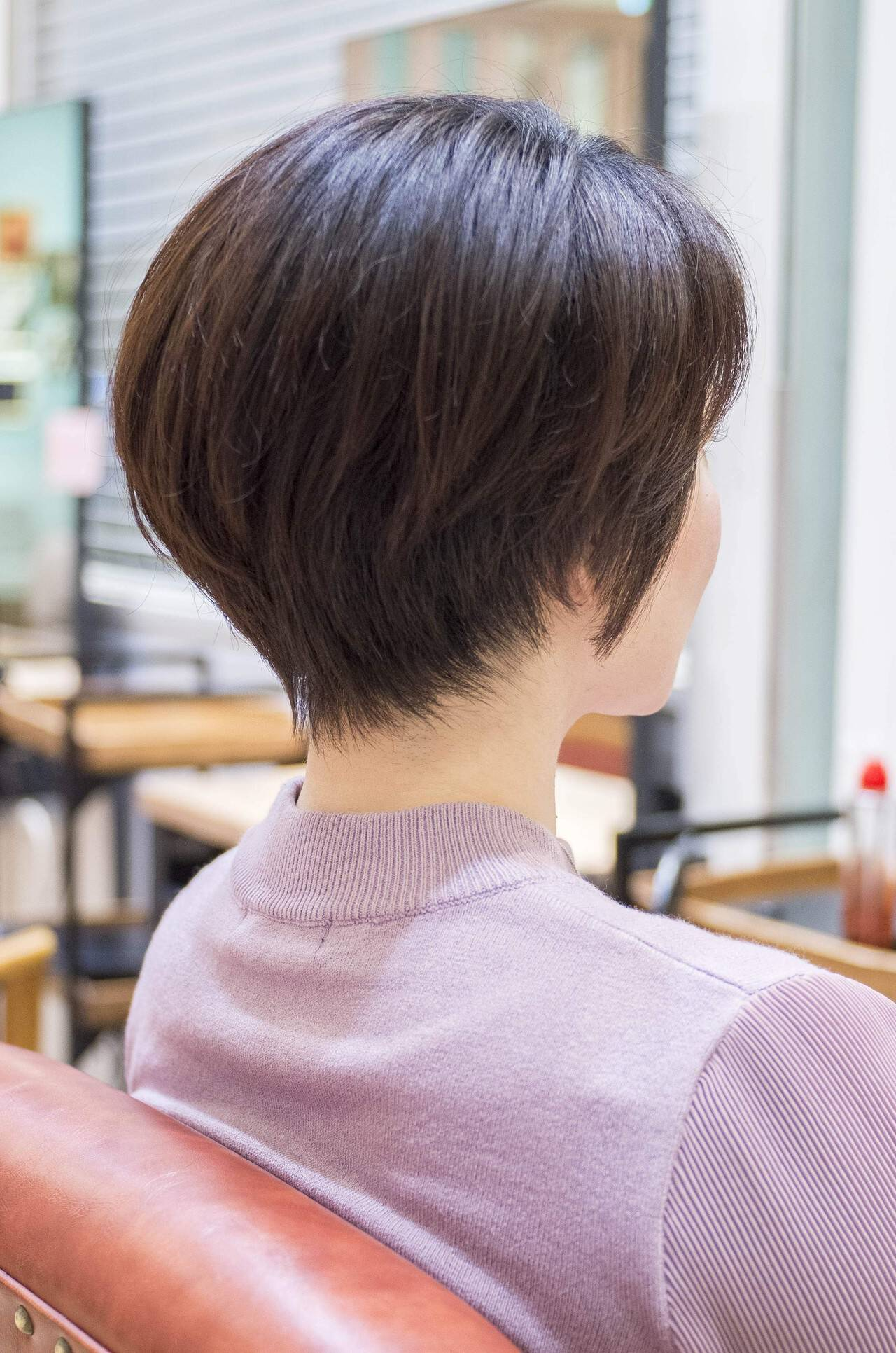 ハンサムショート 大人かわいい ショートヘア ショートボブヘアスタイルや髪型の写真・画像