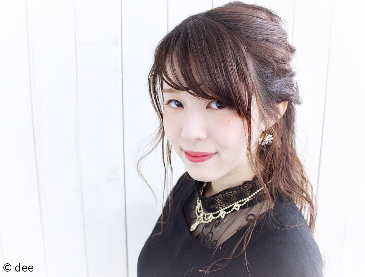 ハーフアップ ロング ヘアピン ヘアアレンジヘアスタイルや髪型の写真・画像