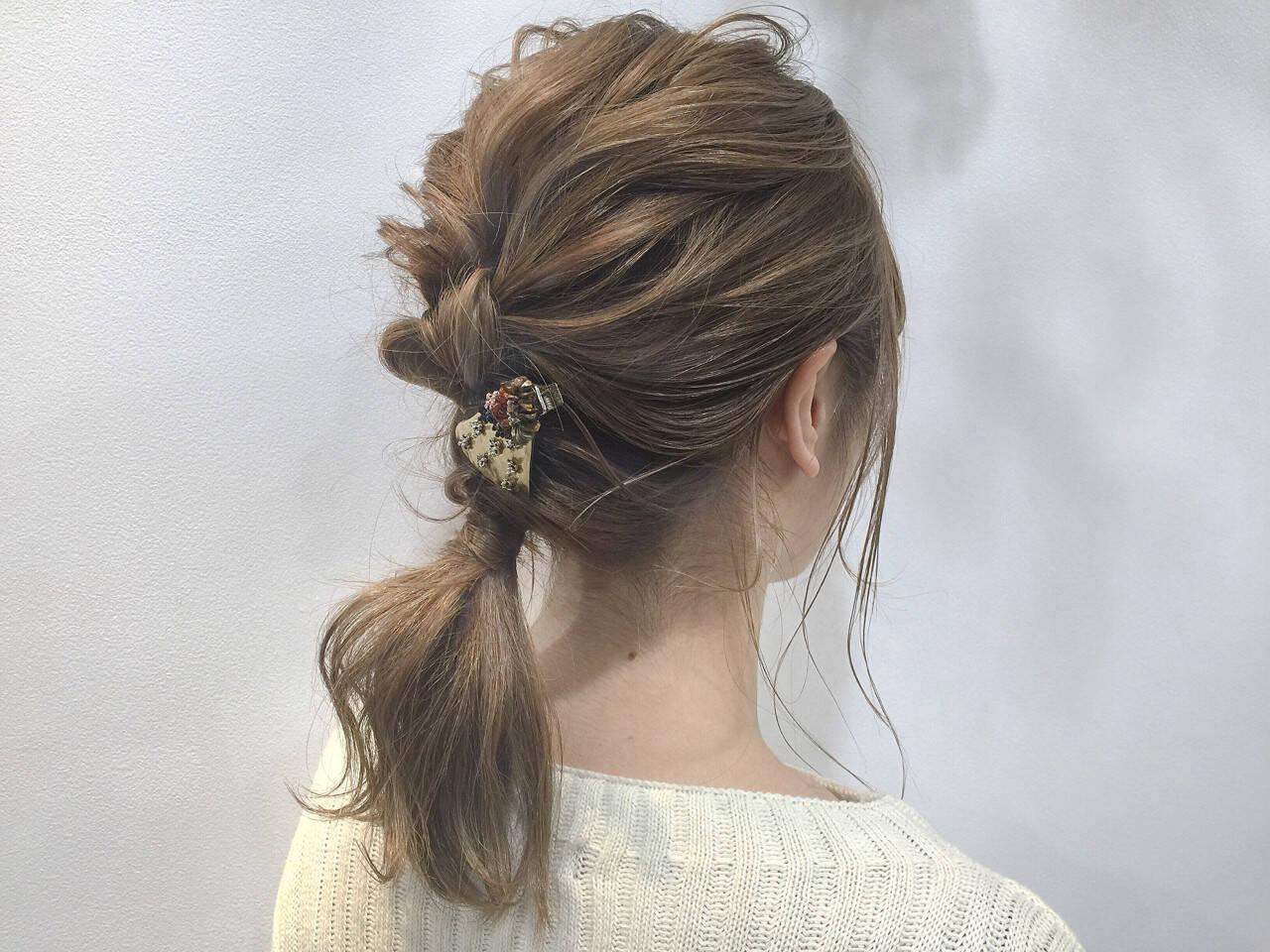 ヘアアレンジ セミロング ナチュラル ショートヘアスタイルや髪型の写真・画像