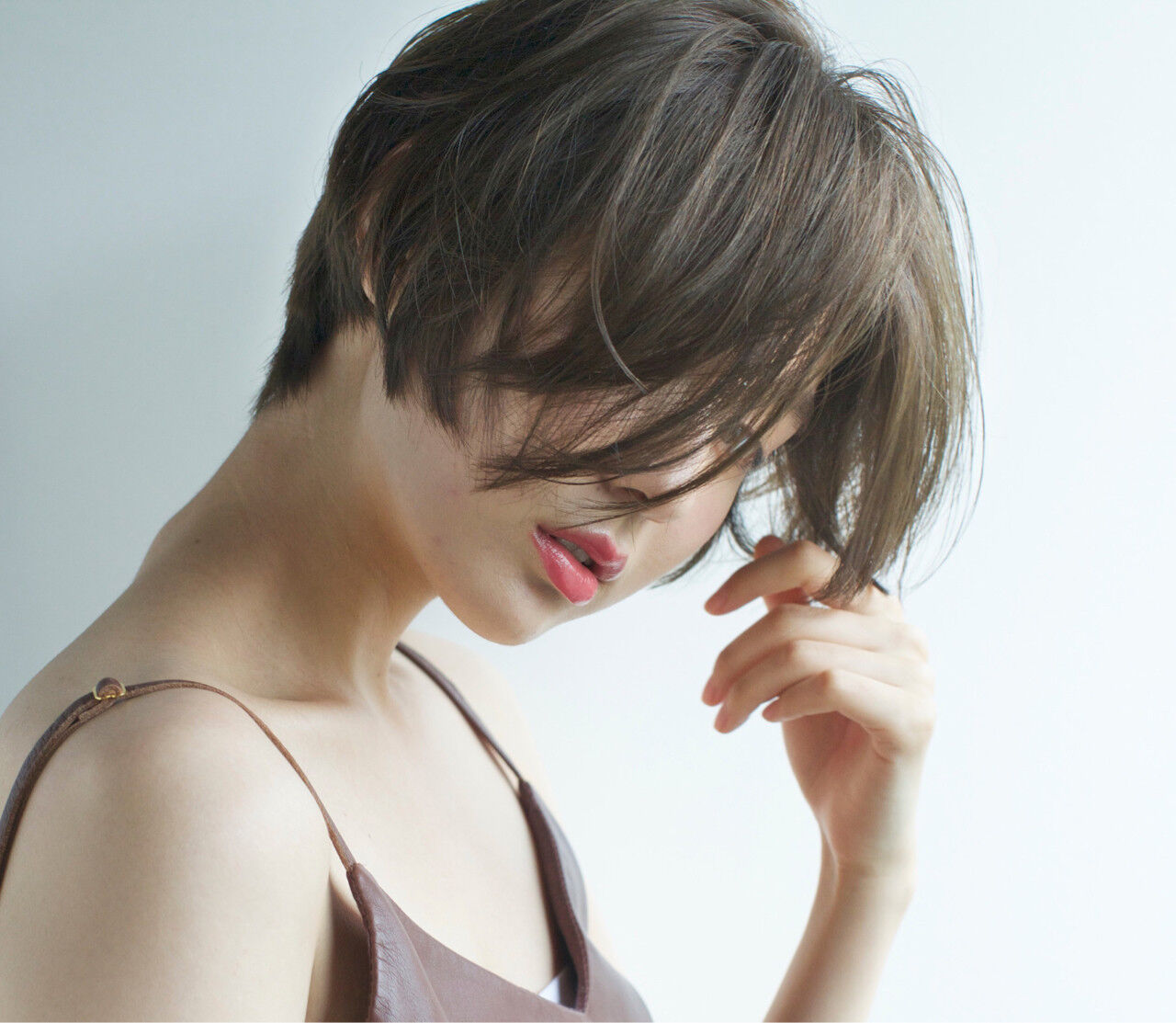 ショート 透明感 涼しげ 小顔ヘアスタイルや髪型の写真・画像